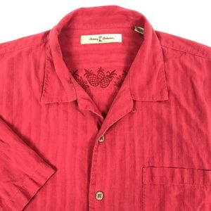Tommy Bahama Red Striped Silk Button Up Large L